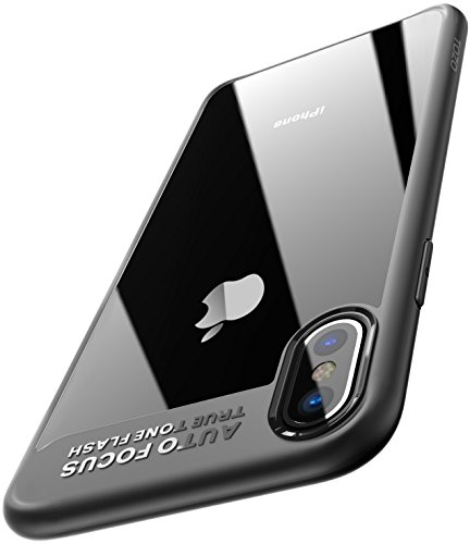 TOZO for iPhone X Case, PC + TPU Hybrid Ultra-Thin [ Perfect Fit ] Hard Protect Case Shock Absorption Back-Transparent Bumper for iPhone 10 / X [Black Edge]