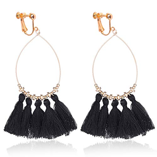 Tassel Clip on Earrings for Women Bohemian Fan Tassel Drop Dangle Thread 2018 New Design Fringe Black
