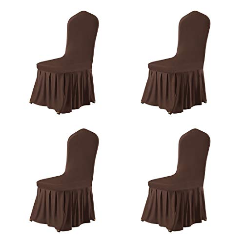 uxcell Stretch Spandex Round Top Dining Room Chair Covers Long Ruffled Skirt Slipcovers for Shorty Chair Seat Covers Coffee Color 4pcs ()