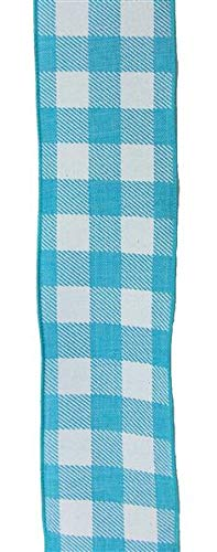 (Plaid Check Wired Edge Ribbon - 10 Yards (Turquoise, White)