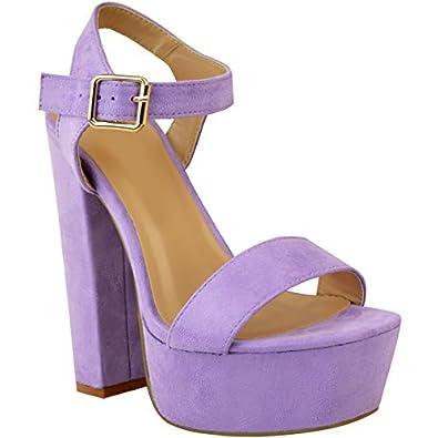 Damen High Heels mit Blockabsatz  Plateausohle - Offener Zehenbereich