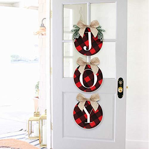 ORIENTAL CHERRY Christmas Decorations – Joy Sign – Buffalo Check Plaid Wreath for Front Door – Rustic Burlap Wooden…