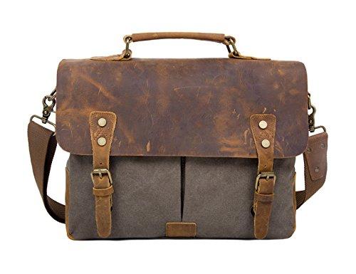 Womens Leather Satchel Cross Body Shoulder Messenger Bag Green - 2