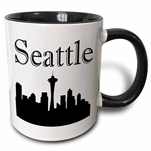 3dRose EvaDane - Images - Seattle skyline. - 15oz Two-Tone Black Mug (mug_193635_9) -