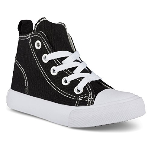 ZOOGS Fashion High-Top Canvas Sneakers - for Girls Boys Youth, Toddlers & Kids Black, 9 Toddler