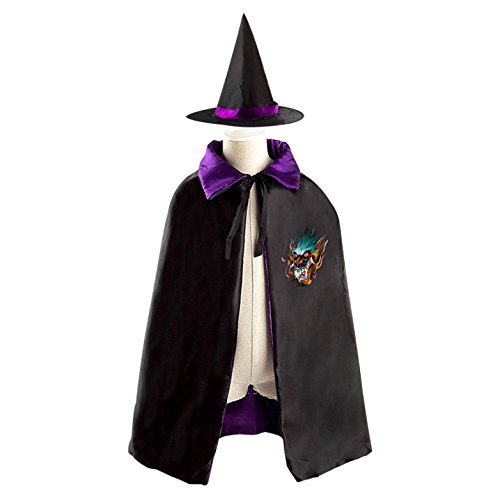 Kids Homemade King Costume (King Dragon Head Reversible Halloween Cape and Witch Hat for Kids purple)