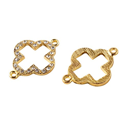RUBYCA 10pcs Metal Clover Connector Beads Crystal Inlay DIY Jewelry Making Bracelet Gold Tone