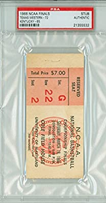 1966 Texas Western Ticket Stub vs Kentucky Wildcats LEGENDARY GAME - March 19, 1966 [Grades G-VG, staple hole ow VgEx, back clean] by Mickeys Cards