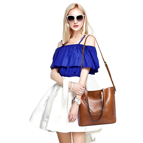 Brown Women Body Top Tote Dark Messenger Bag Cross ZONE Handbag Bag Purse Handle Shoulder Leather S pxZg4n