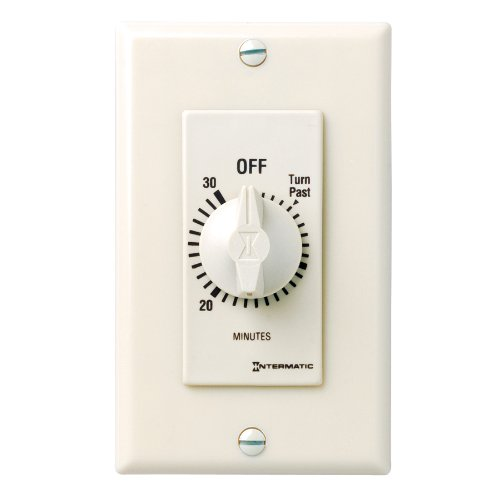 Intermatic FD30MAC 30-Minute Spring-Loaded In-Wall Countdown Timer Switch for Fans and Lights, Almond
