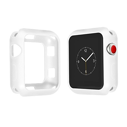 Marjorie Stevenson Silicone Bumper Case Compatible for Apple Watch,Protective Bumper Cover Compatible for Apple iWatch Series 3, Series 2, Series 1,Sports & Edition (White, 38mm)