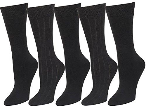 Mens Super Soft Dress Socks 5 Pack Black Solid & Rib Socks (Black Mens Socks Dress)