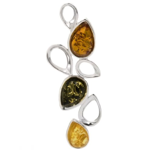 Sterling Silver Multicolor Amber Slider Drop Pendant