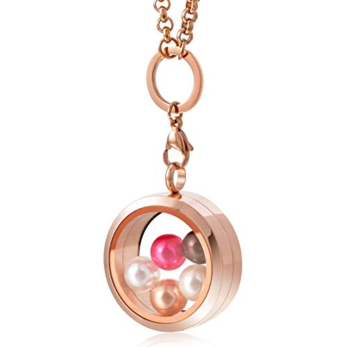 CAPTTE High-Capacity Pearl Cage Pendant Necklace - 30mm Pearl Floating Locket Necklace, Stainless Steel Glass Pearl Jewelry with 5 PCS Round Pearls Inside (7-8mm), Rose ()