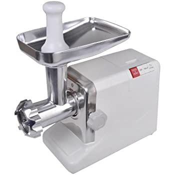 TMS Electric 2.6 HP 2000 Watt Industrial Meat Grinder Butcher Shop 3 Cutting Blades (White)