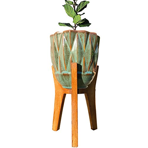 Handmade Boho Teal Indoor-Outdoor Vase with Wooden Planter Stand | Bohemian Set | Kauri Design 41Akl eQpBL