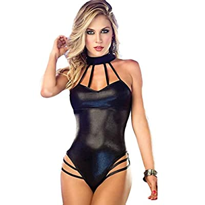 Sexy Lingerie;Start Women Sleeveless Patent Leather Jumpsuits Clubwear