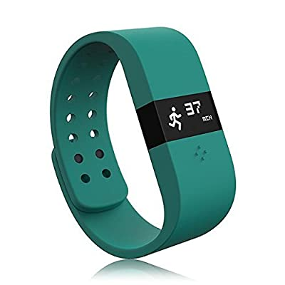 HAMSWAN® Bluetooth 4.0 Fitness Activity Tracker Bracelet & Sleep Monitor Smart Wristband w/LED Touch Screen Waterproof IP67 Thermometer Measuring Heart Rate for Andriod & iOS (Blue)