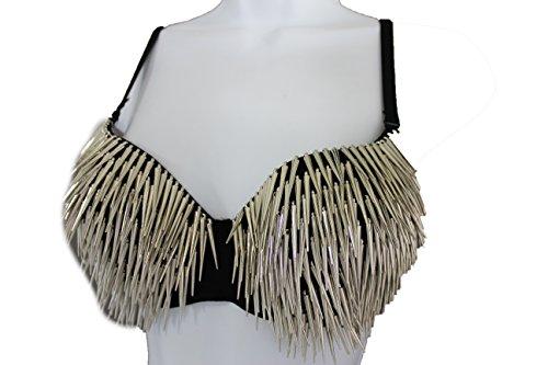 TFJ Women Sexy Fashion Bra Dancing Corset Top Vegas Bralette Clubwear Long Spikes (34B   (75B), Silver)
