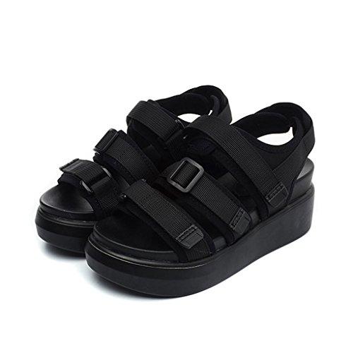 LIXIONG Portátil Sandalias de verano femeninas Magia de fondo grueso zapatos casuales Los deportes cómodos eran zapatos de estudiante delgada -Zapatos de moda ( Color : A , Tamaño : EU34/UK3/CN34 ) B
