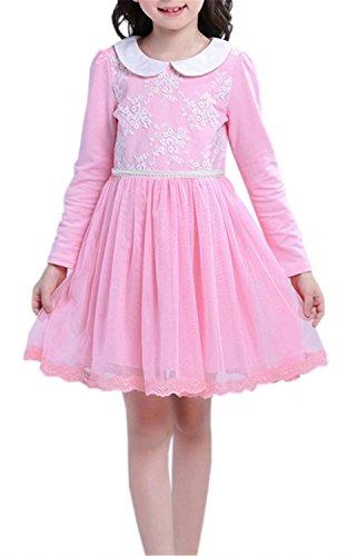 Peter Pan Costume Age 8 (Betusline Kids Girls Peter Pan Collar Long Sleeves Lace Flower Dress Pink)