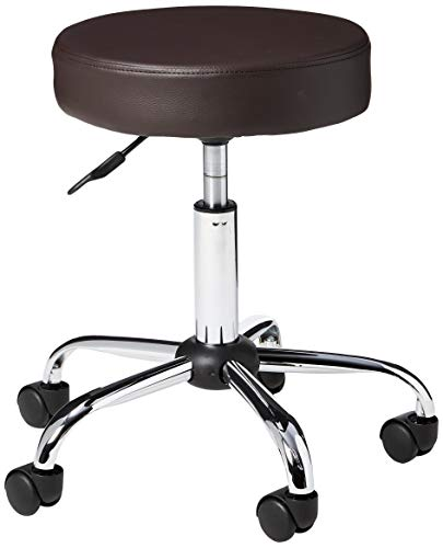 (Porthos Home WDF002A BRN Adjustable Office Stool with PVC Upholstery 360° Swivel and Nylon Caster Wheels One Size)