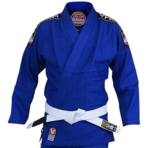 Valor Bravura Kimono BJJ azul con cinturón blanco