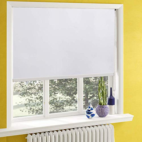 Keego Window Shades Black Out for Bedroom Room Darkening Roller Shades with Back in White Waterproof and Oil Resistant for Privacy Nursery and Kitchens[White 100% Blackout,W26xH36(Inch)]