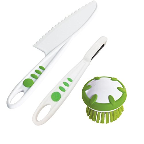 Curious Chef 3 Piece Vegetable Prep Tool Set, Child, Green/W