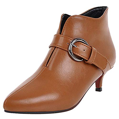 Heel Kitten Brown Buckle Stylish Booties Women Coolcept xtqERwS7Y