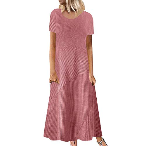Womens Striped Casual Long Dress Ladies Summer Short Sleeve Crew Neck Linen Pocket Dress Bodycon Loose Soft Maxi Dress (Red, 3XL) ()