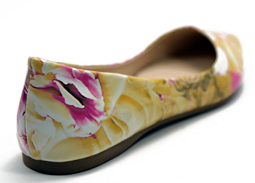 Walstar Mujeres Comfortable Point Toe Bombas Planas Zapatos Patrón Floral Amarillo
