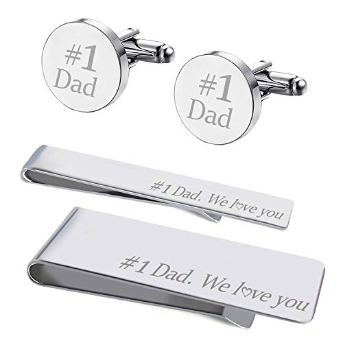 (BodyJ4You 4PC Cufflinks Tie Bar Money Clip Button Shirt Father Day Love Best Dad Gift Box Set)