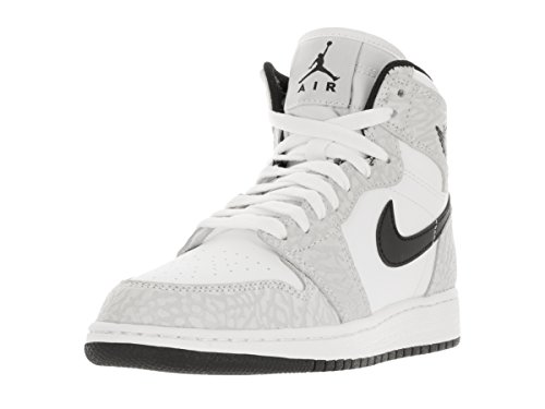 Nike Jordan Kids Air Jordan 1 Retro Hi Prem BG White/Black Pure Platinum Basketball Shoe 6.5 Kids US by NIKE
