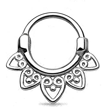 1 2mm Surgical Steel Hinged Clicker Ring Tribal Heart Fan Septum