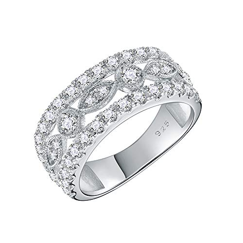 (Lavencious 925 Sterling Silver Rhodium Plated with AAA CZ Stones Vintage Rings for Women Size 6-9 (Silver, 7))