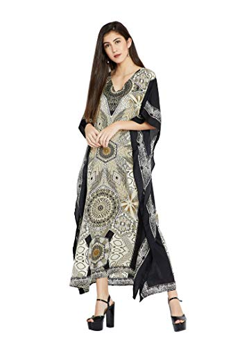 (Goood Times Black & White Geometric Long Kaftan Kimono Maxi Dress Plus Size Caftan Gown Nightdress Kimono)