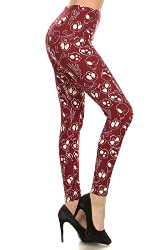 Leggings Depot Ultra Soft Regular and Fashion Leggings BAT23 (Skulls and Bones (Burgundy), Plus Size (L-2X / Size 12-20))