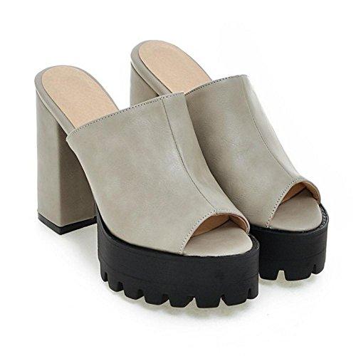 1 Tacco Moda Mules Donna Peep Sandali Toe Gray TAOFFEN A Blocco vaEwTqvx