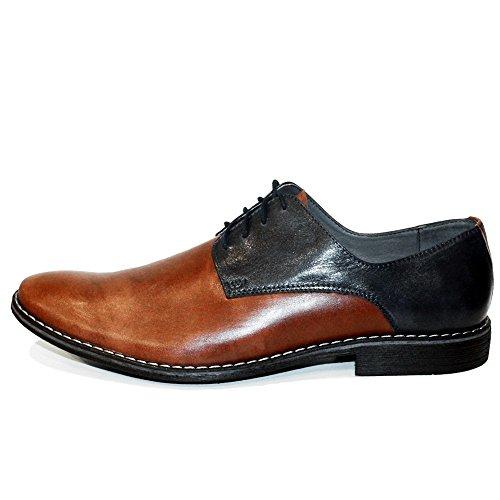 PeppeShoes Modello Brunto - Handmade Italiano da Uomo in Pelle Marrone Scarpe da Sera - Vacchetta Pelle Morbido - Allacciare