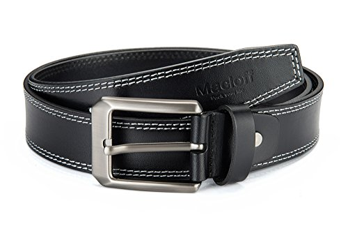 8f56ad4f0661 Macloff 100% Italy Leather Mens Belt With Double Edge Stitched 1 1 2 in.  Wide