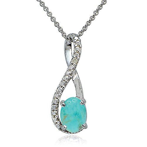 Sterling Silver Turquoise Accent (Sterling Silver Simulated Turquoise & Diamond Accent Twist Necklace)