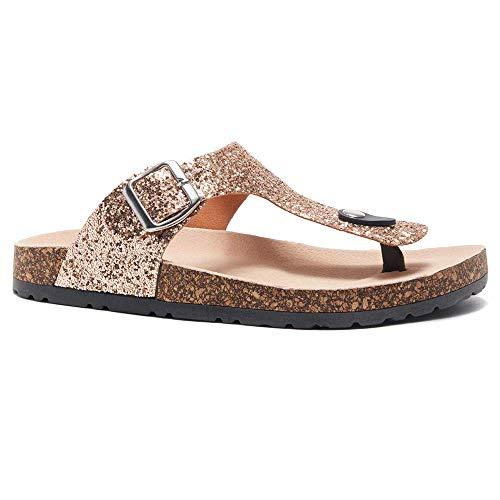Herstyle Abella Women's Comfort Buckled Slip on Sandal Casual Cork Platform Sandal Flat Open Toe Slide Shoe RoseGoldGlt 7.0