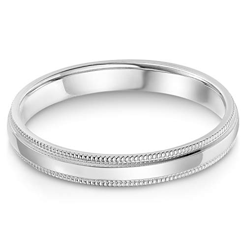 Ioka - 14k Solid White Gold 3mm Standard Classic Fit Milgrain Traditional Wedding Band Ring - size 5.5