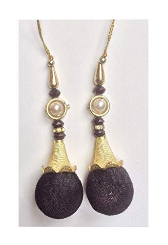 Beaded Salwar Kameez Tassels Decorative Latkans Golden Keychain Supply (Black) by Lata