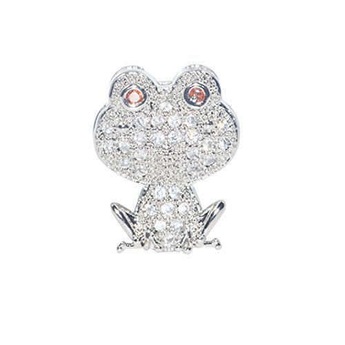 DongStar Jewelry Premium Cooper Paved Cubic Zirconia Crystal Prince Frog Froggy Bead Jewelry Necklace Bracelet Bead Connector (Silver) - Arrogant Frog