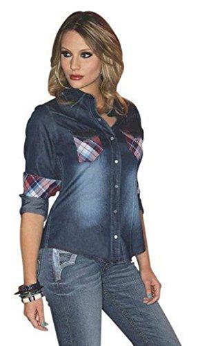 Southern Thread (Southern Thread Western Shirt Womens L/S Denim L Med Wash (S))