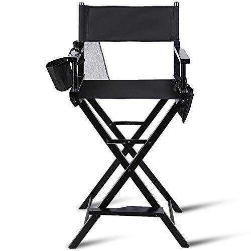 Tangkula Directors Chair 30 Height Lightweight Foldable Portable Black Wood Frame with Storage Bag Footrest Home Commercial Makeup Artist Chair (Black)