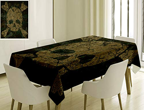 - Unique Custom Cotton And Linen Blend Tablecloth 8 Camo Military Texture With Skull And Crossbones Aged Rusty Soldier Grunge Style Dark Green Khaki CreTablecovers For Rectangle Tables, 70 x 52 Inches