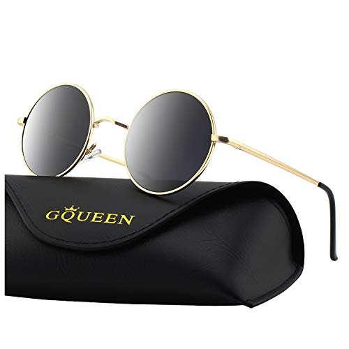 - GQUEEN Retro Round Circle Lennon Polarized Sunglasses Mirrored Metal Alloy for Men Women MFF7